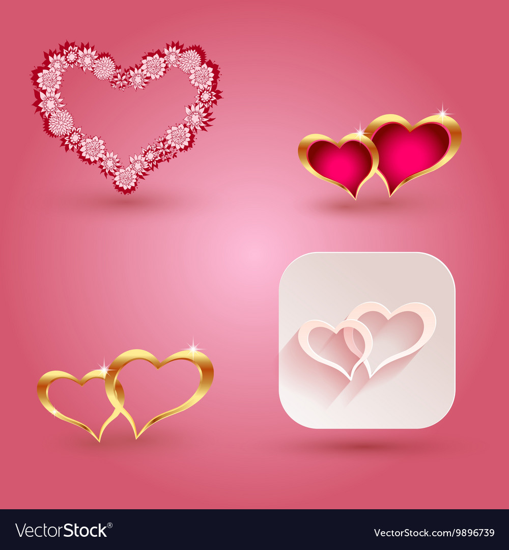 Hearts and icon elements for valentine s day or