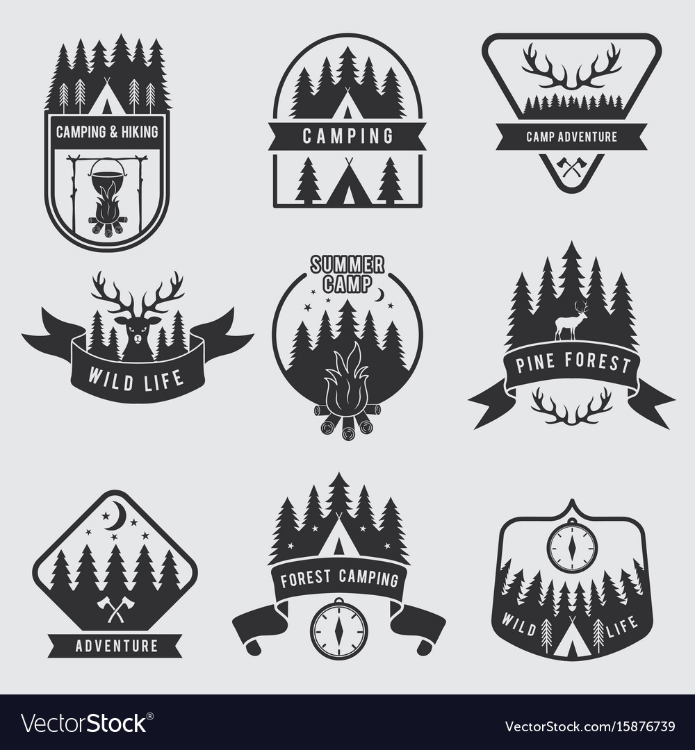 Outdoor camping labels set explorer monochrome vector image