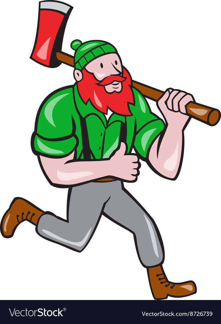 Paul Bunyan Lumberjack Axe Running Cartoon