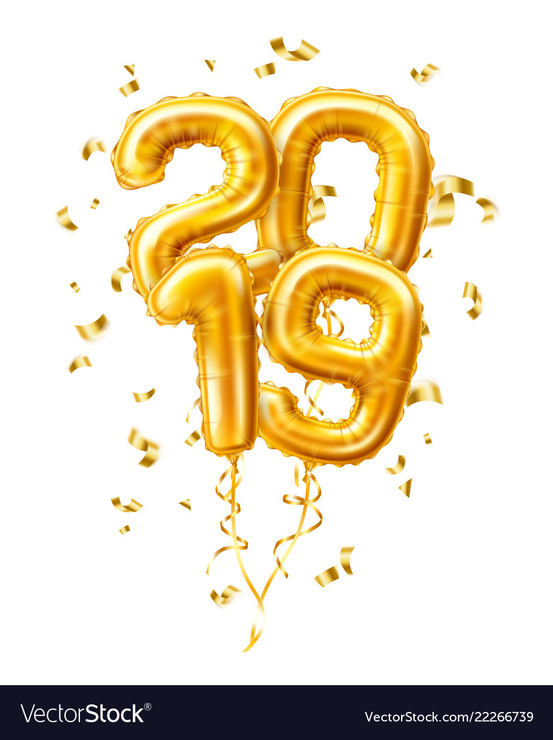 Realistic 2019 gold air balloons confetti new year