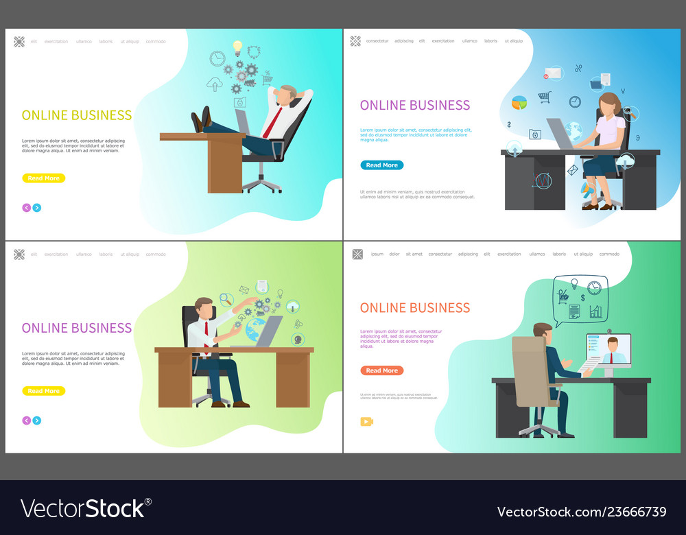 Set of sitting worker at table with laptop