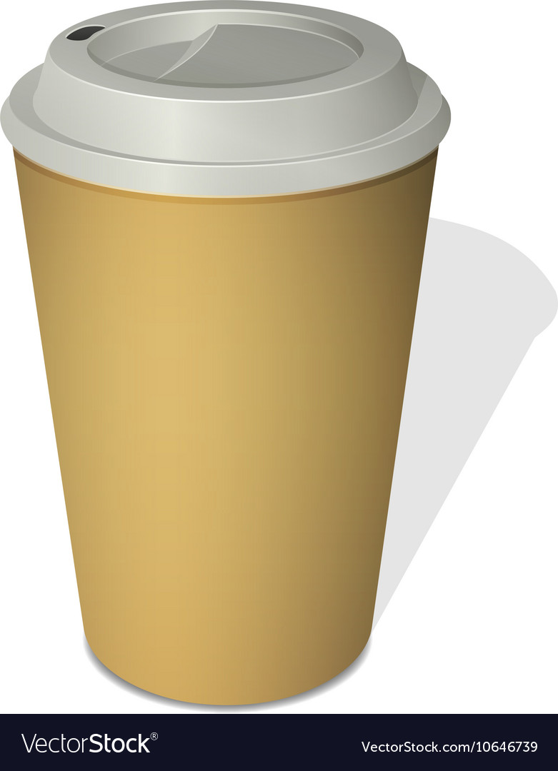 Take-out coffee cup with a cap isolated on white