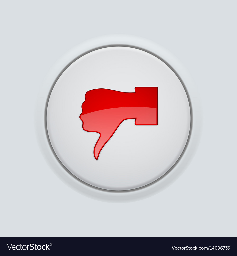 Thumb down red button user interface round icon