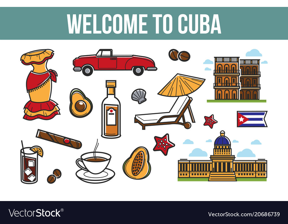 Welcome to cuba promotional poster with cultural