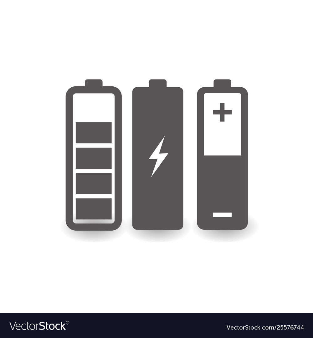 Battery icon set simple flat style