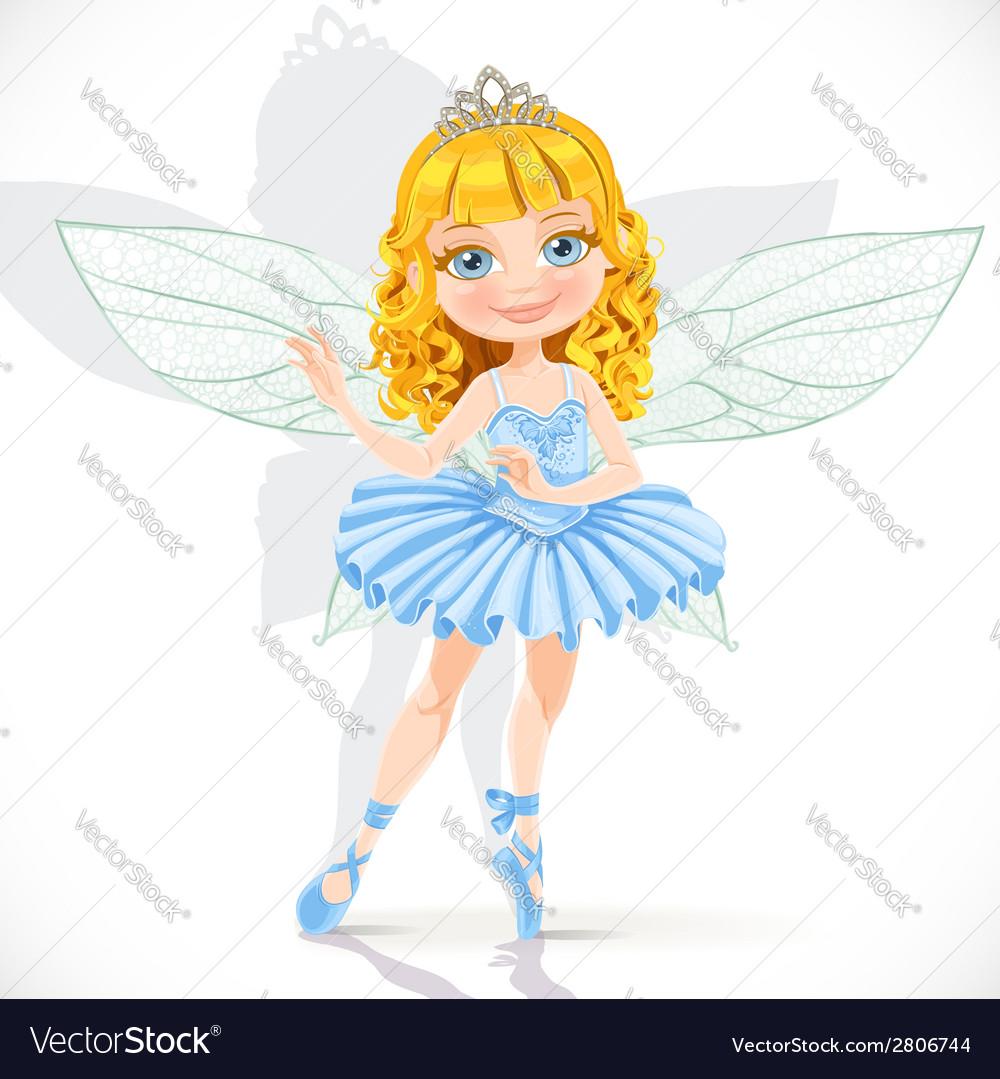 Beautiful little fairy girl in tiara and blue