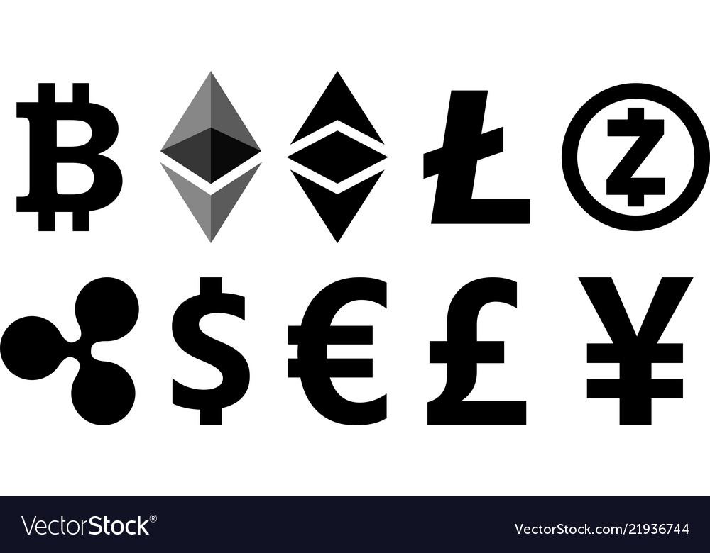 Black cryptocurrency symbols on white