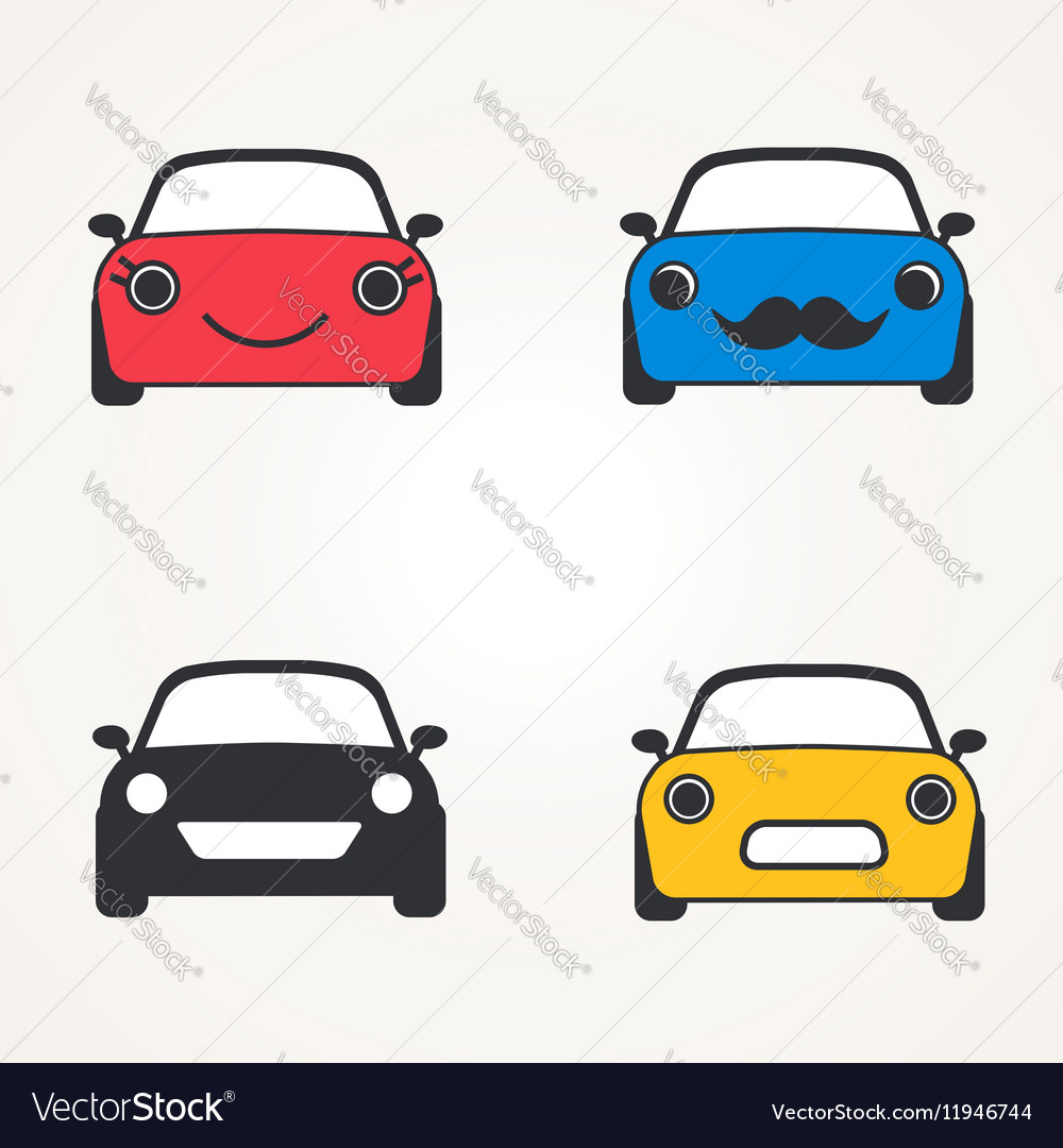 Cute cars icons sign front view set vector image