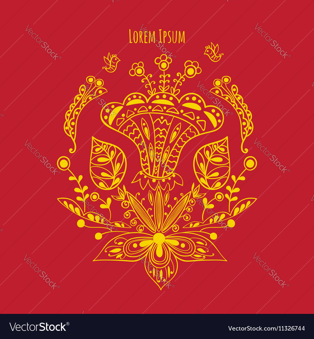 Decorative card with flowers vector image