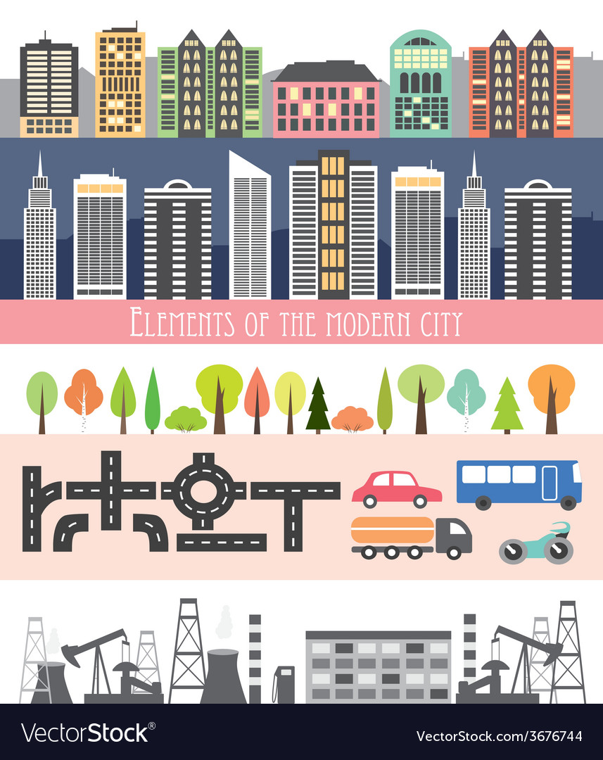 Different city elements for creating your own map Vector Image on