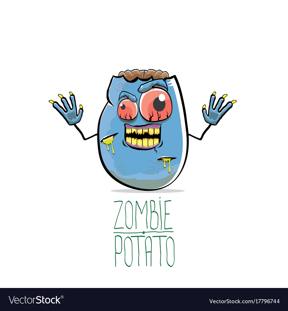 Funny cartoon cute blue zombie potato
