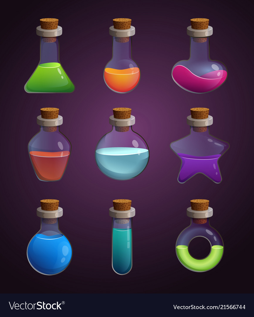 Glass bottles with various liquids pictures in