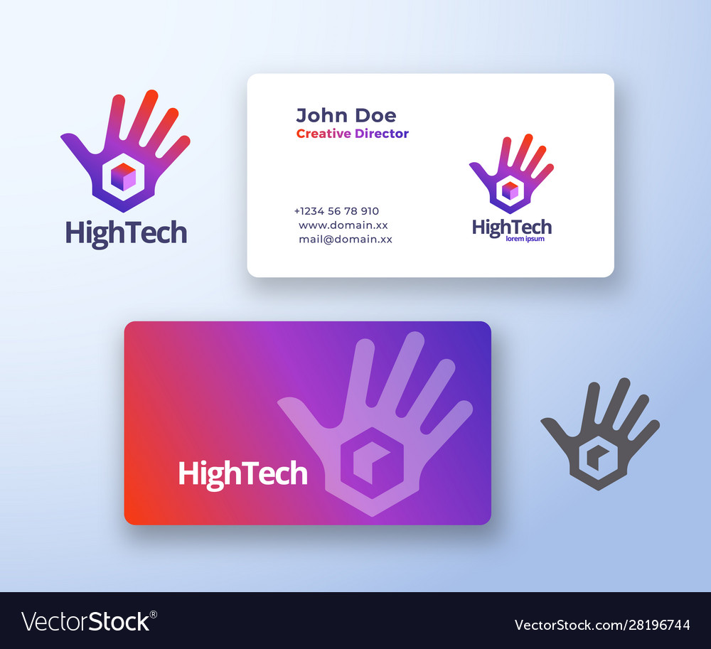 High five technology abstract sign or logo