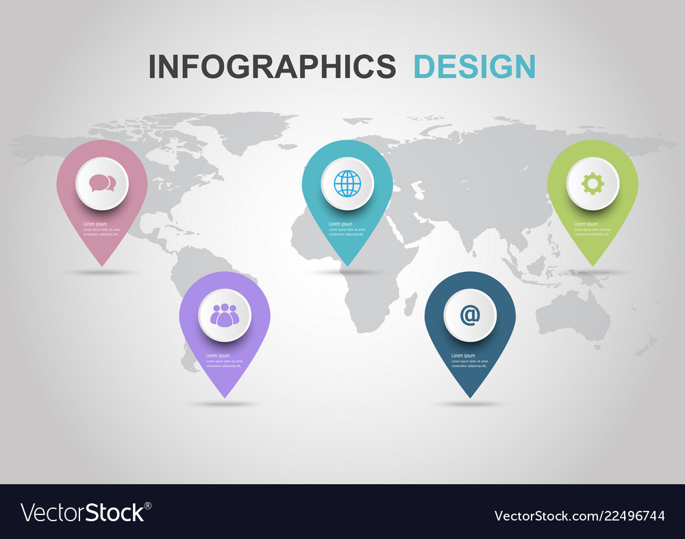 Infographic design template with pins