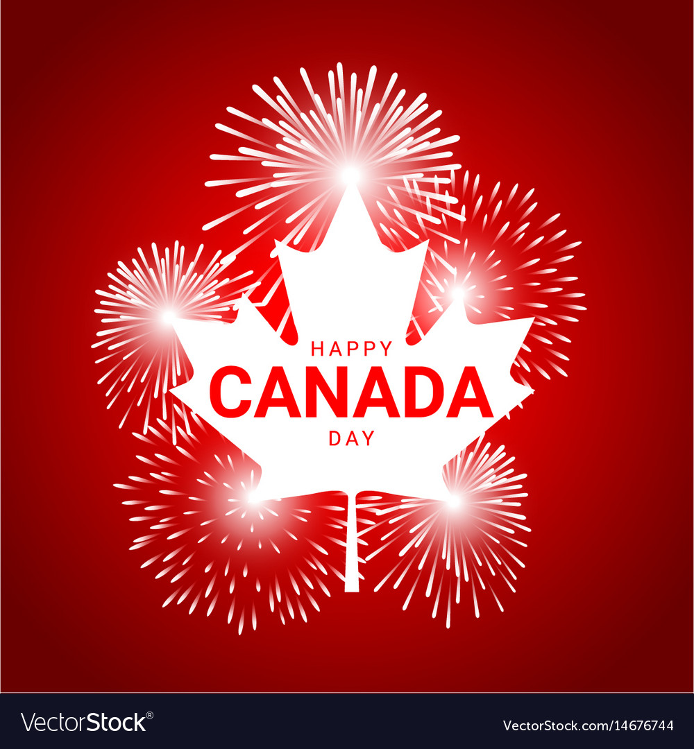 Maple leaf with fireworks for national day of