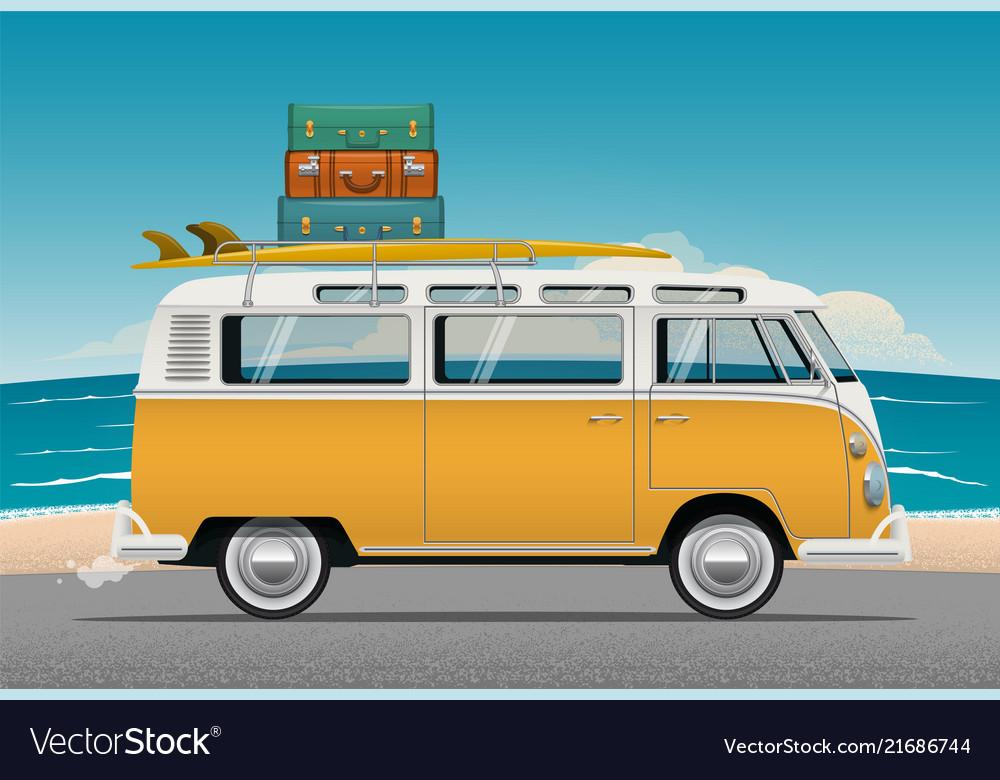 Old school camper mini van with surf board