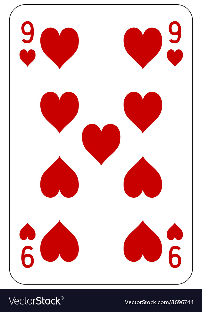 Poker playing card 9 heart