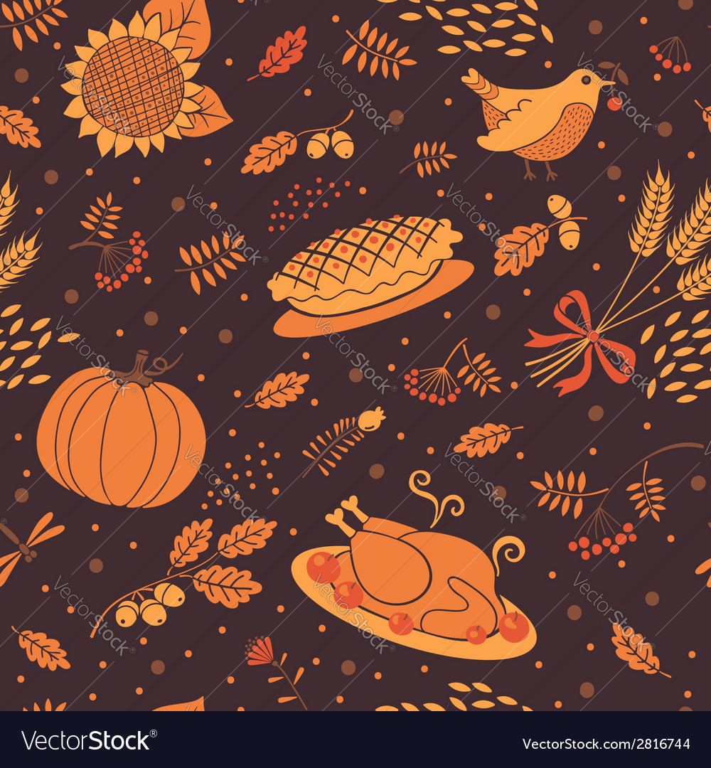 Seamless pattern with pumpkins leaves wheat and