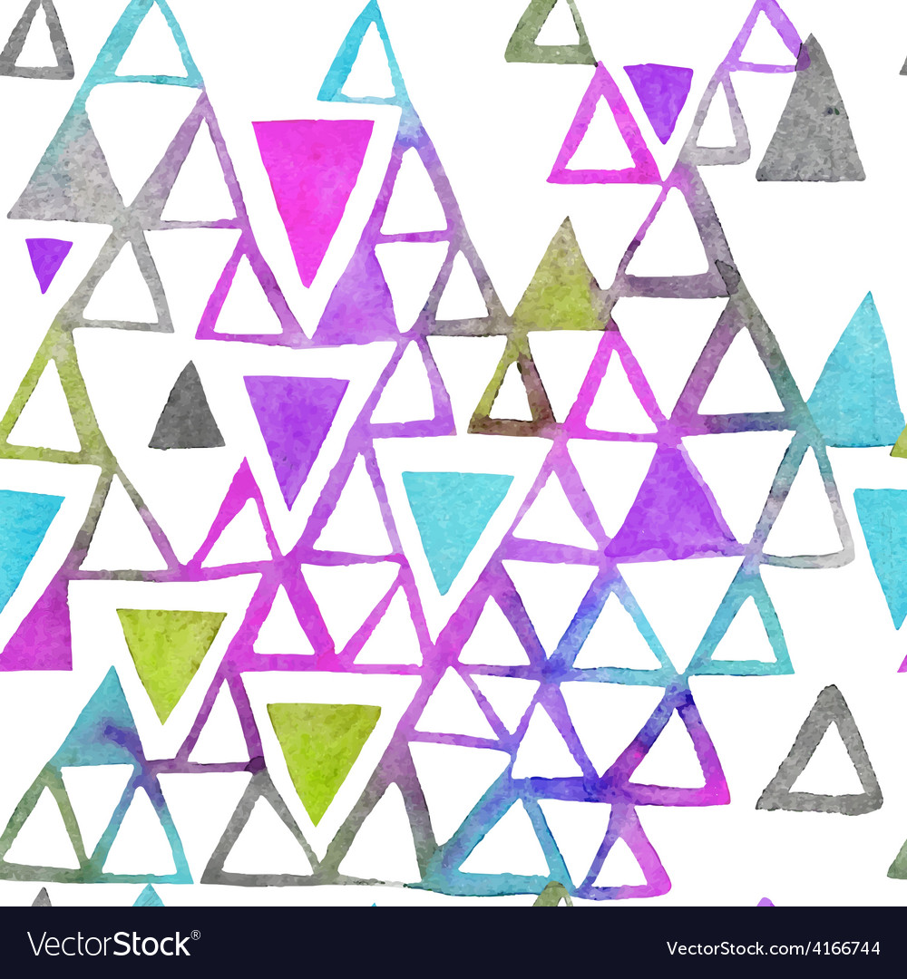 Seamless watercolor pattern with triangles