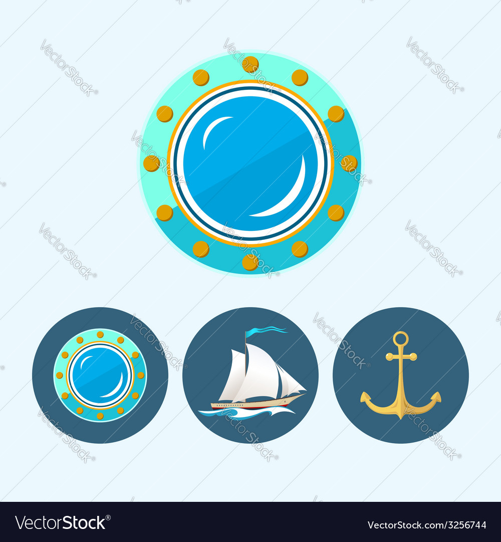 Set icons with sailing vessel anchor porthole