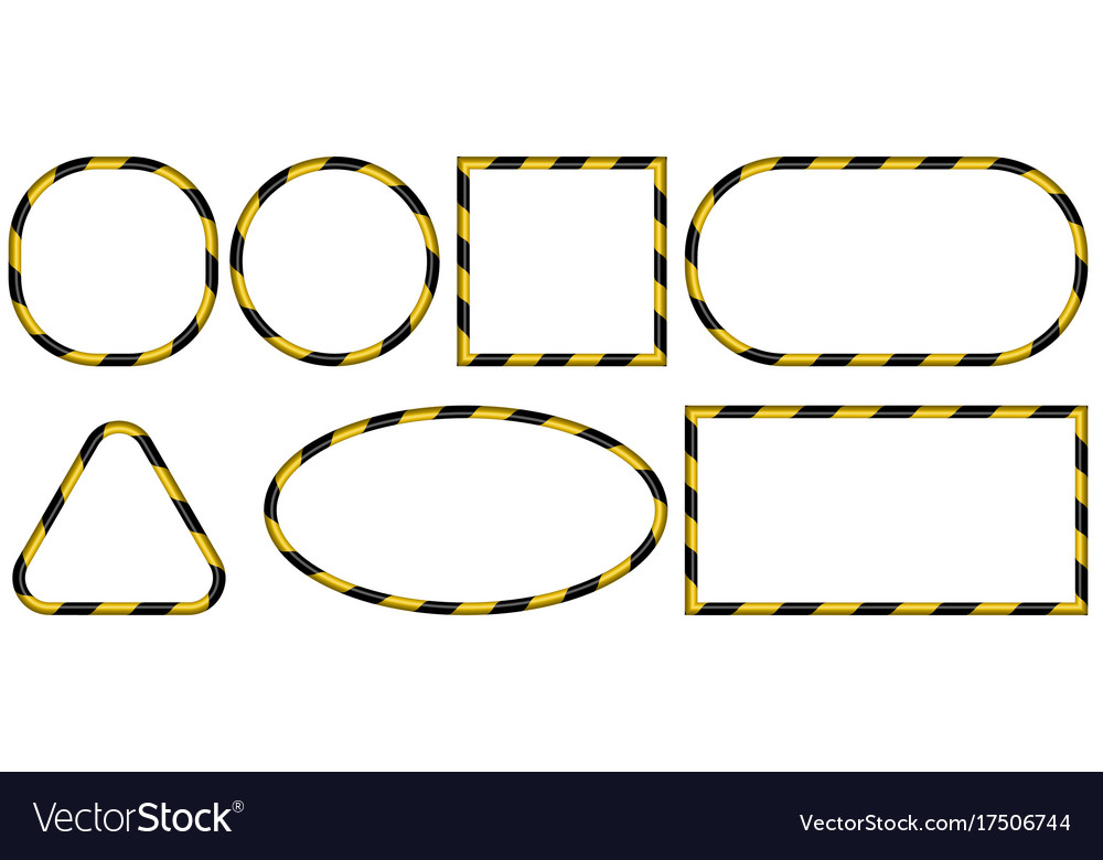 Set of 3d frames yellow and black stripes ribbon Vector Image