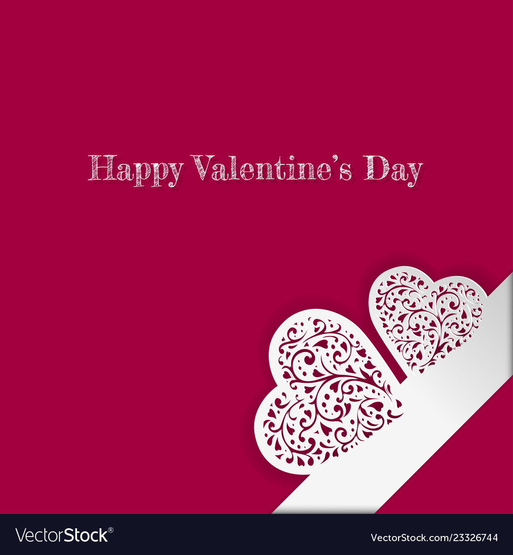 Valentines day card with paper ornate heart