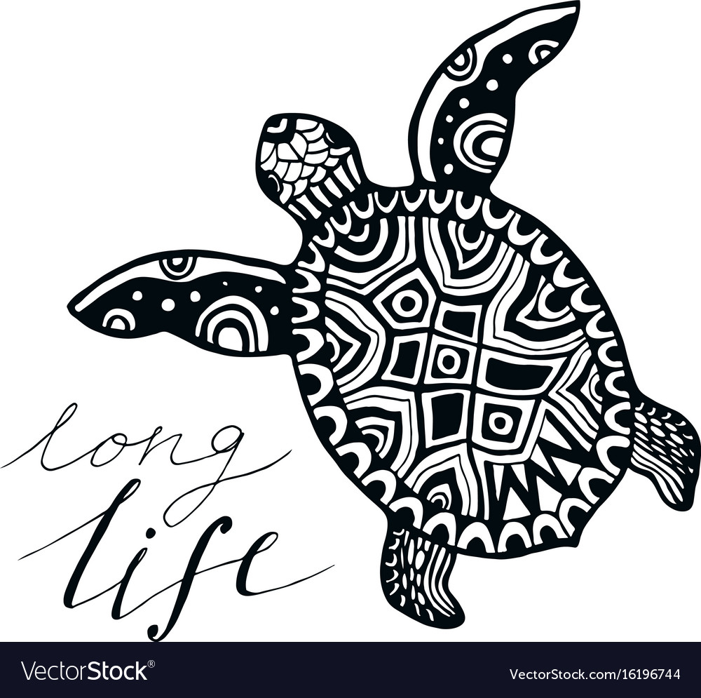 Zentangle Turtle With Calligraphic Quote Long Vector Image