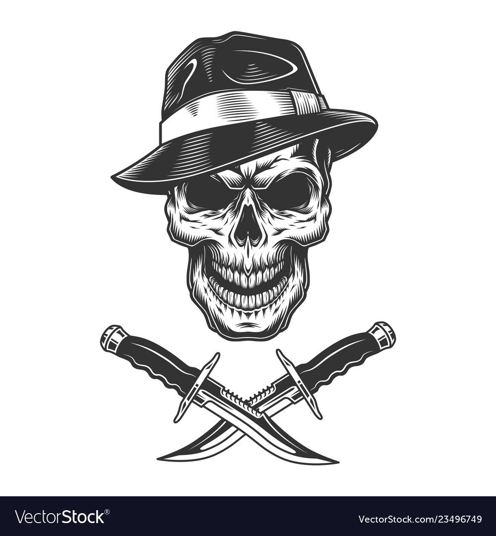 Gangster skull wearing fedora hat