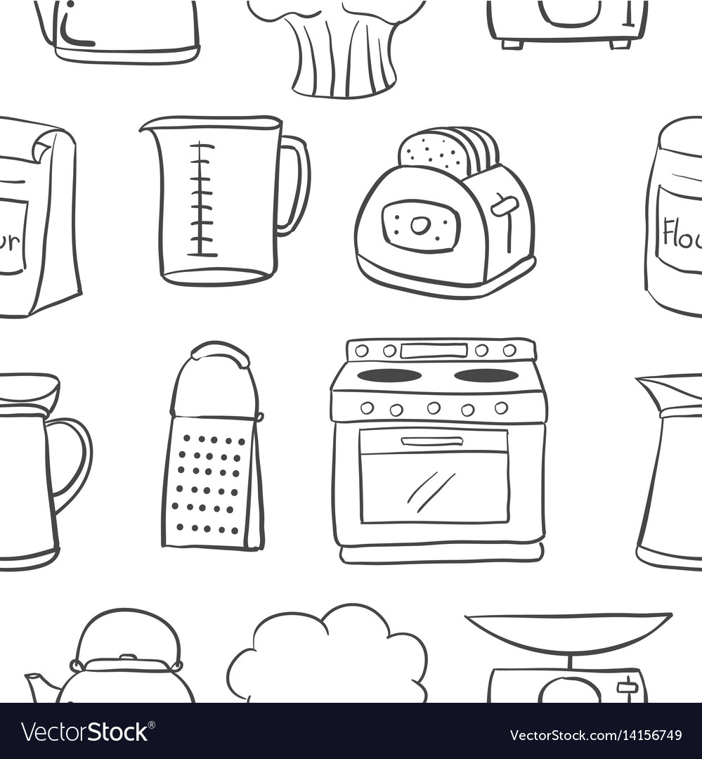 Hand Draw Kitchen Object Doodle Style Royalty Free Vector