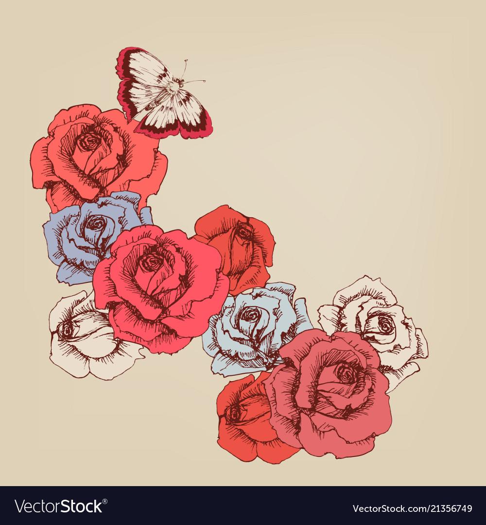 Hand drawn rose stems background