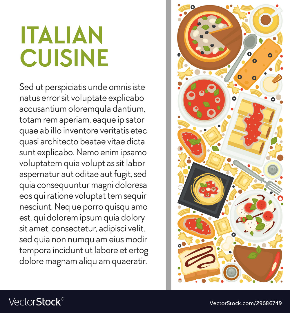 Italian cuisine banner template with dishes top