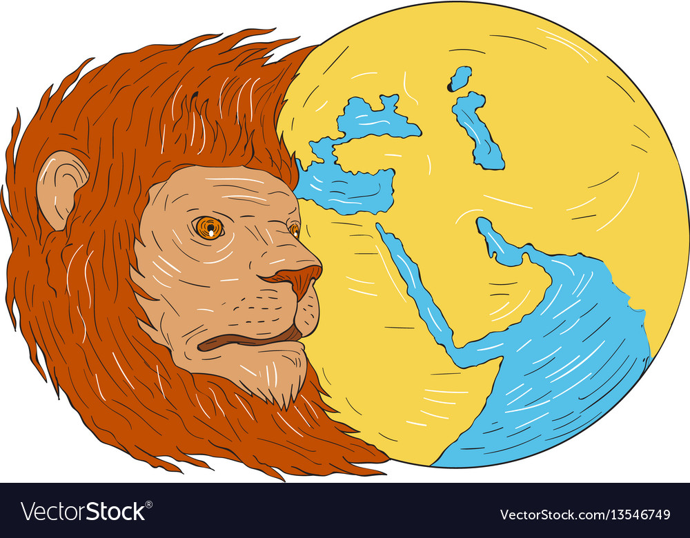 Lion head middle east asia map globe drawing Vector Image