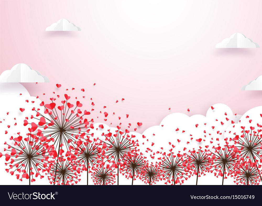 Paper art heart shape flowers with cloud