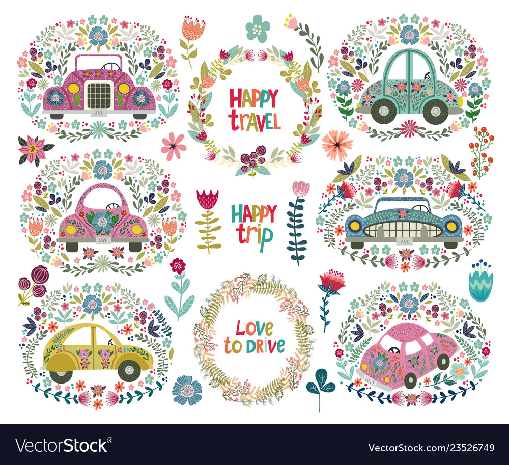 Set of hand drawing cute cartoon car with a floral