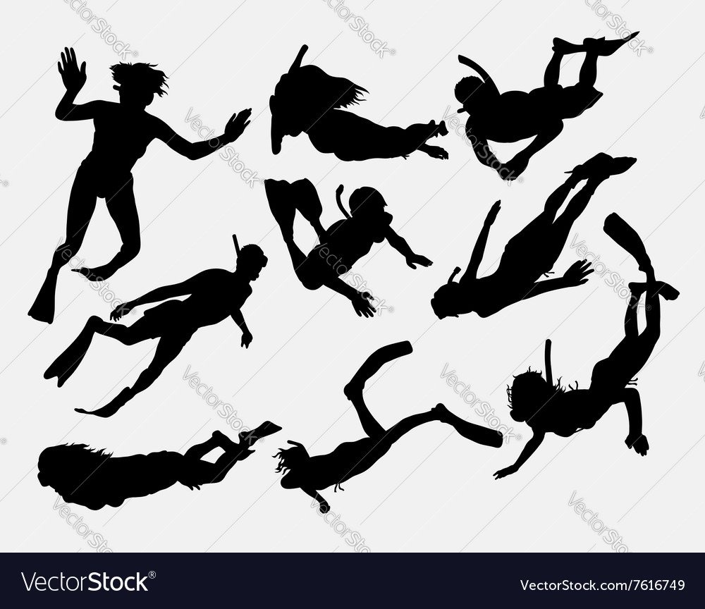 Snorkeling and scuba diving people silhouette vector image