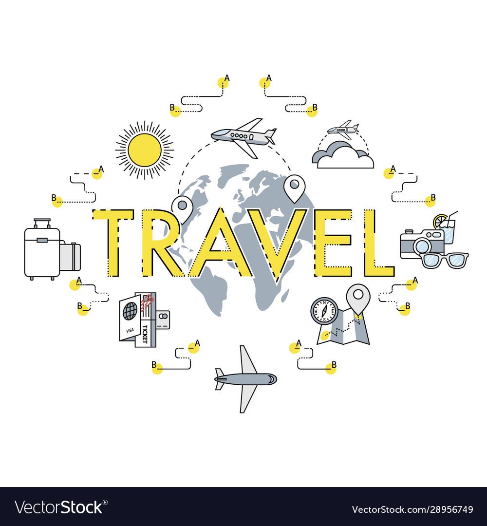 Travel flat thin line around world