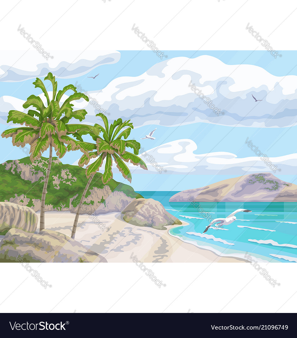 Tropical background with sea coast and palm trees