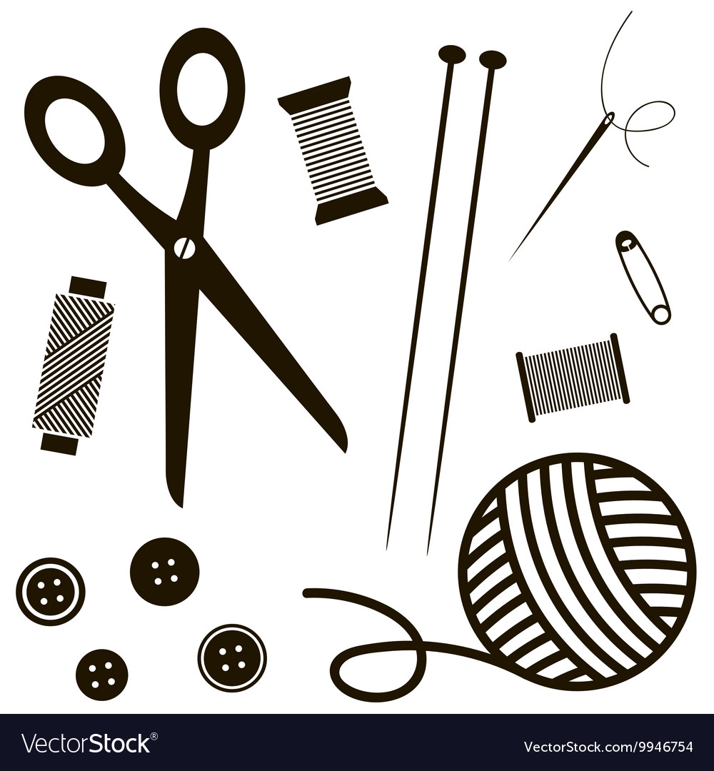 black sewing and knitting tools vector 9946754
