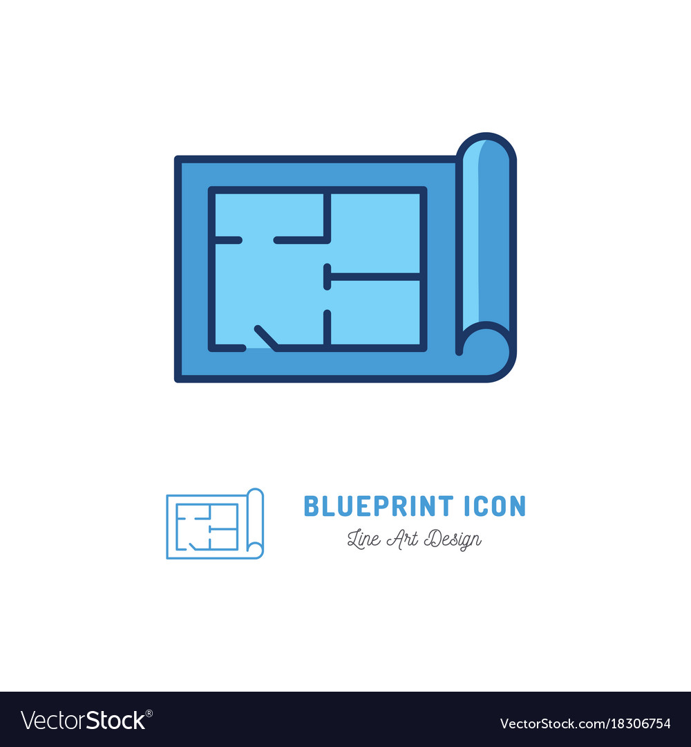 Blueprint icon building plan outline royalty free vector blueprint icon building plan outline vector image malvernweather Images