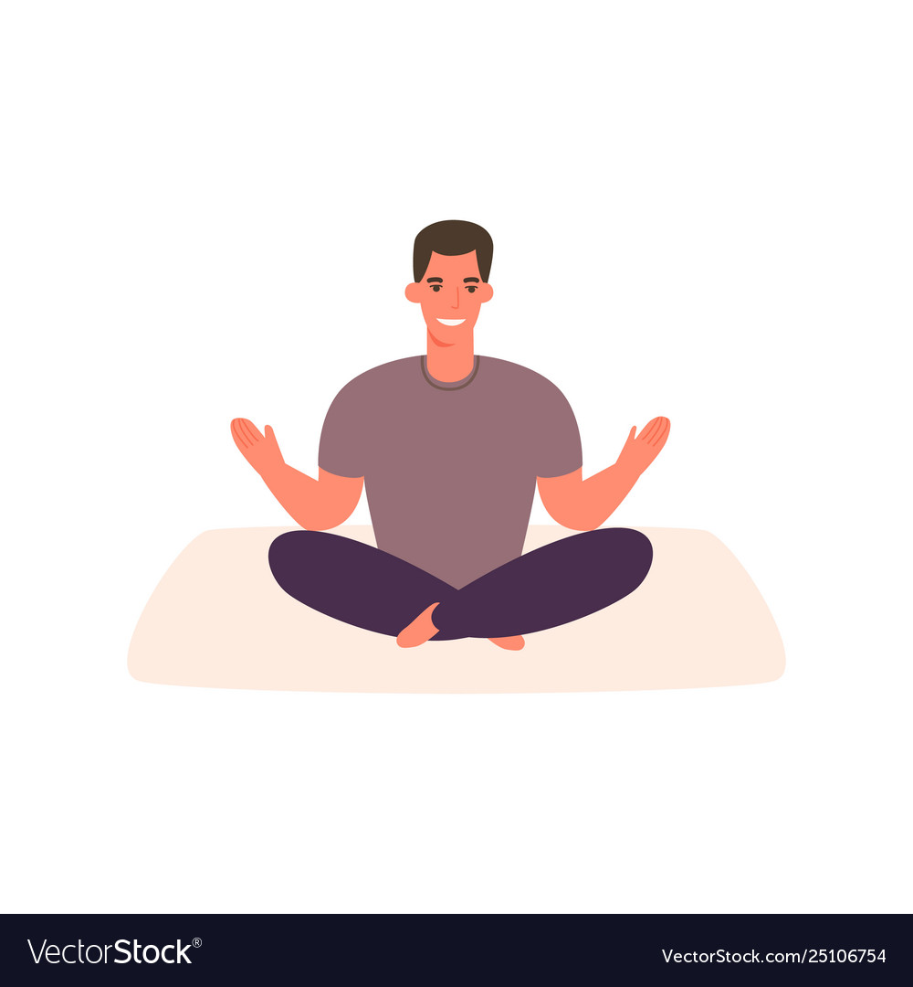 Cartoon Happy Man Practicing Yoga In Relaxed Pose Vector Image