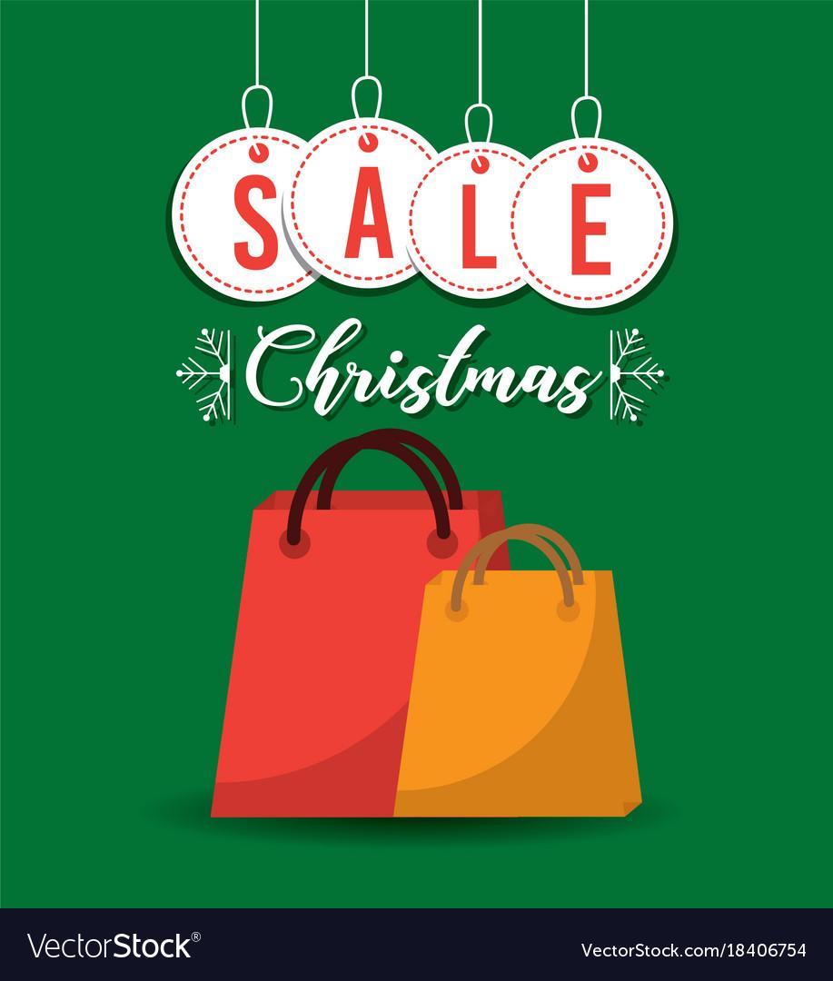 Christmas sale balls and gift bag shop commerce Vector Image
