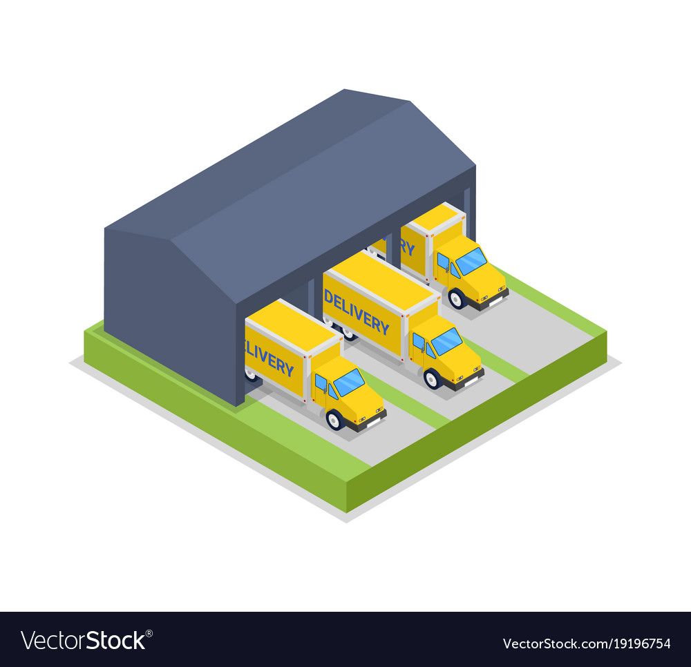 Delivery trucks in warehouse hanger isometric icon