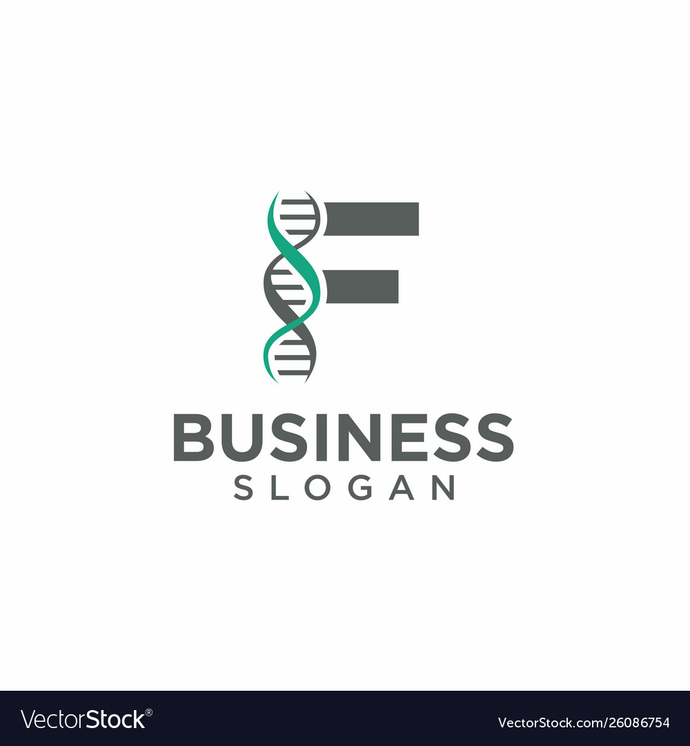 Dna helix with letter f logo template
