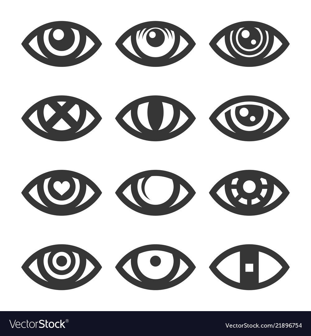 Eye icon set on white background