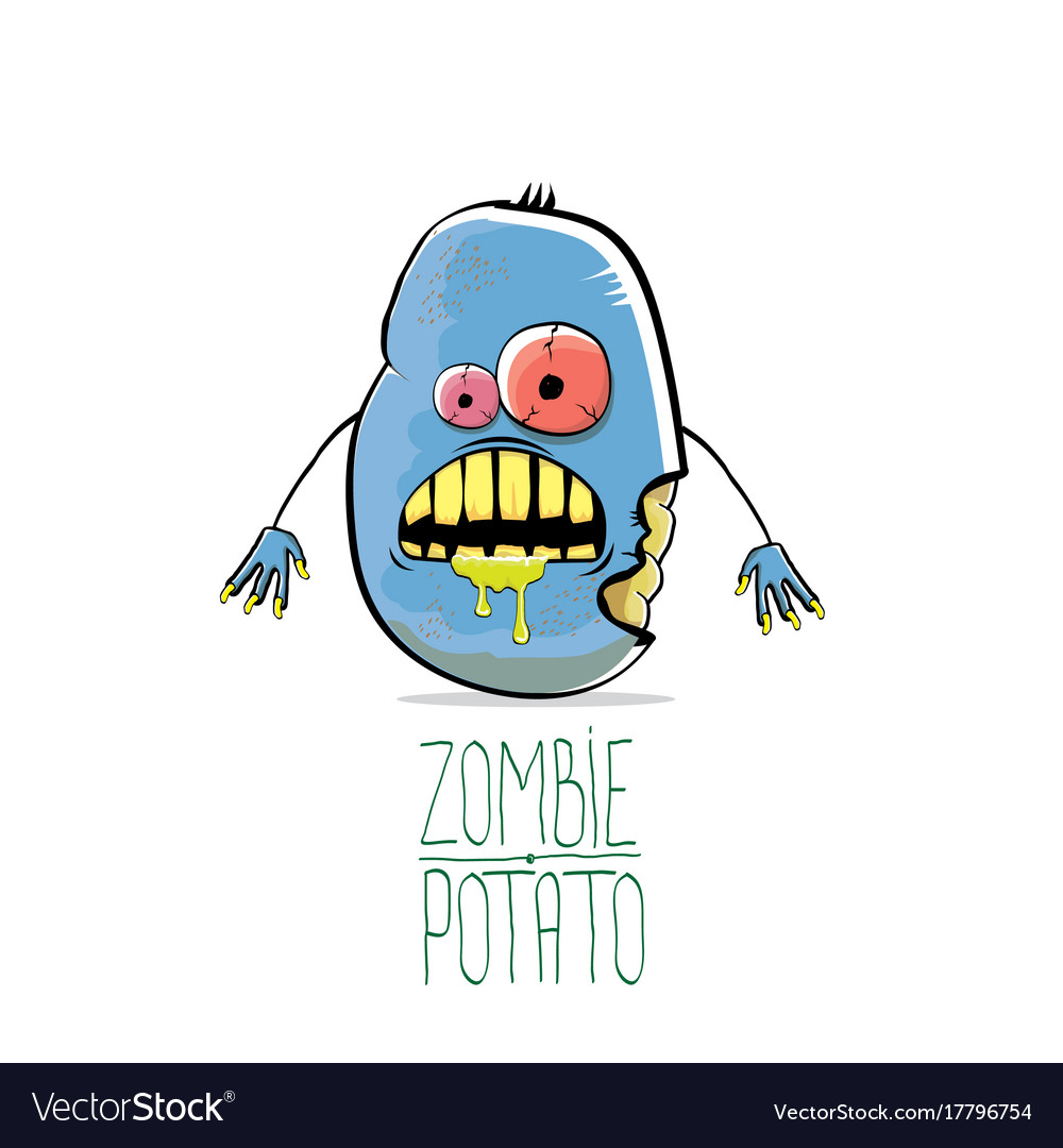 Funny cartoon cute blue zombie potato