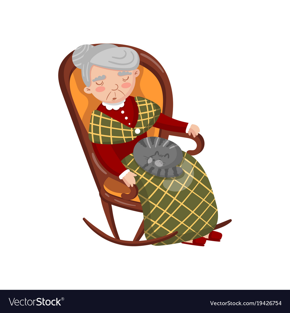 Grandma sleeping in cozy chair with cat on her