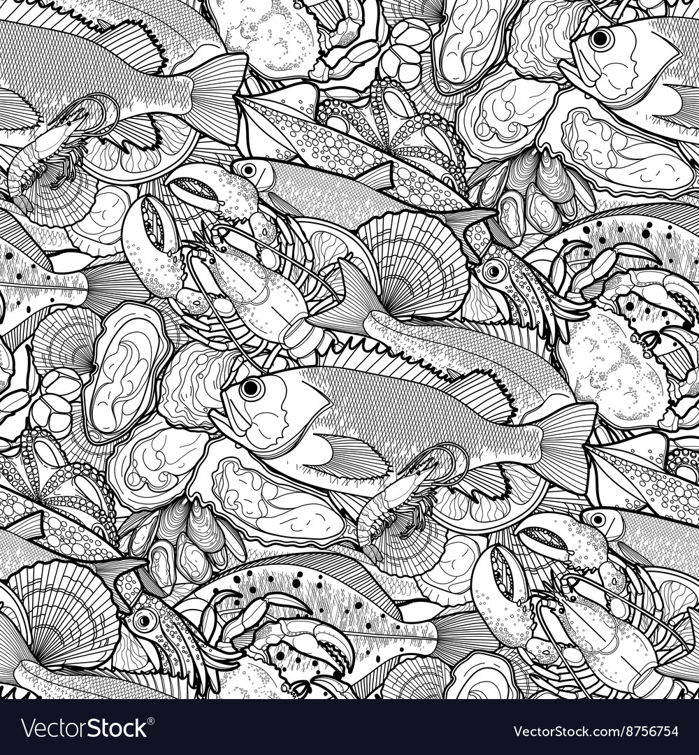 Graphic seafood pattern