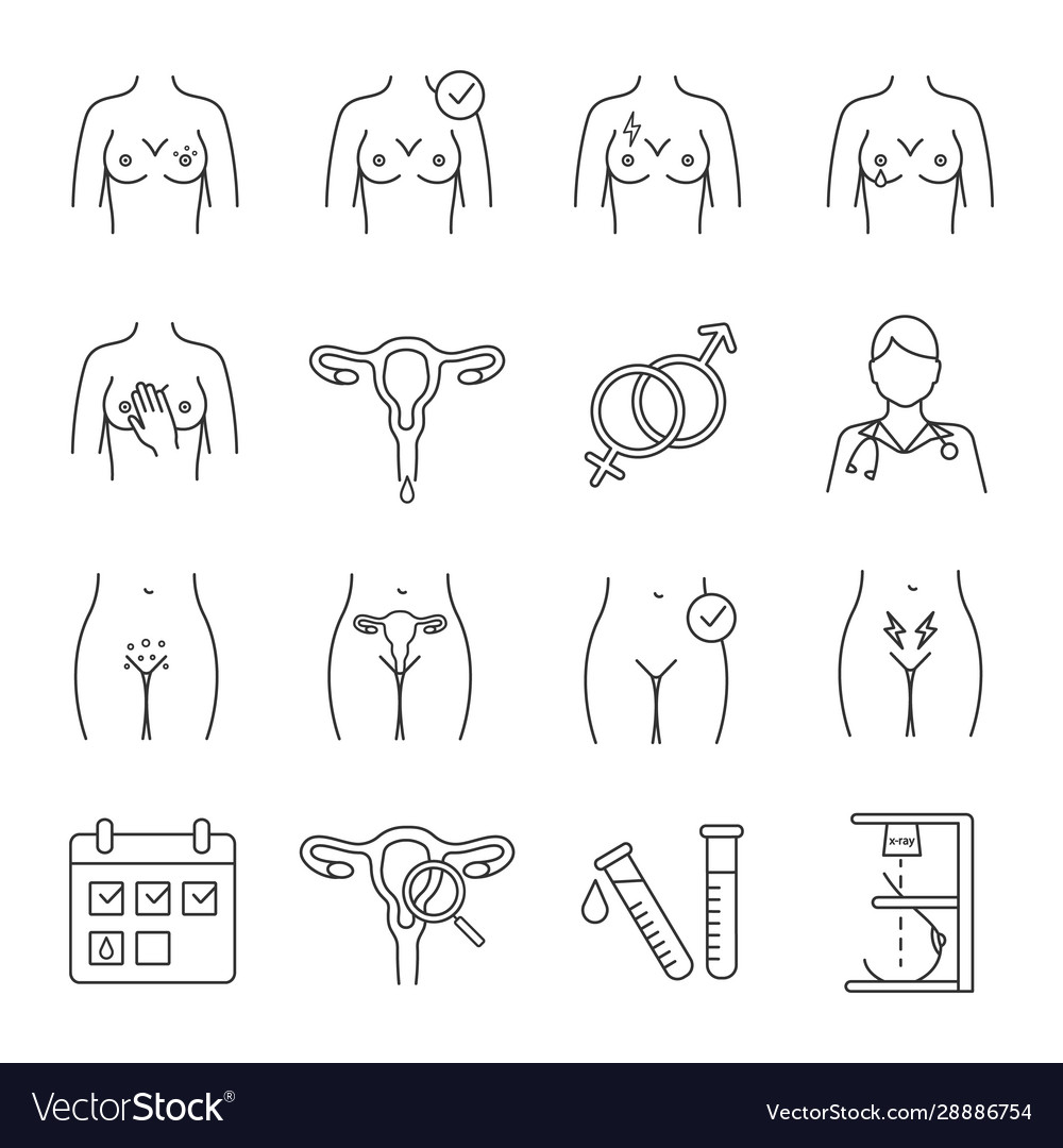 Gynecology linear icons set