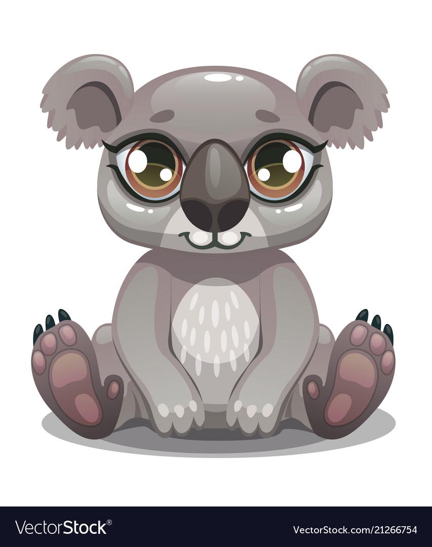 Little cute cartoon koala bear icon