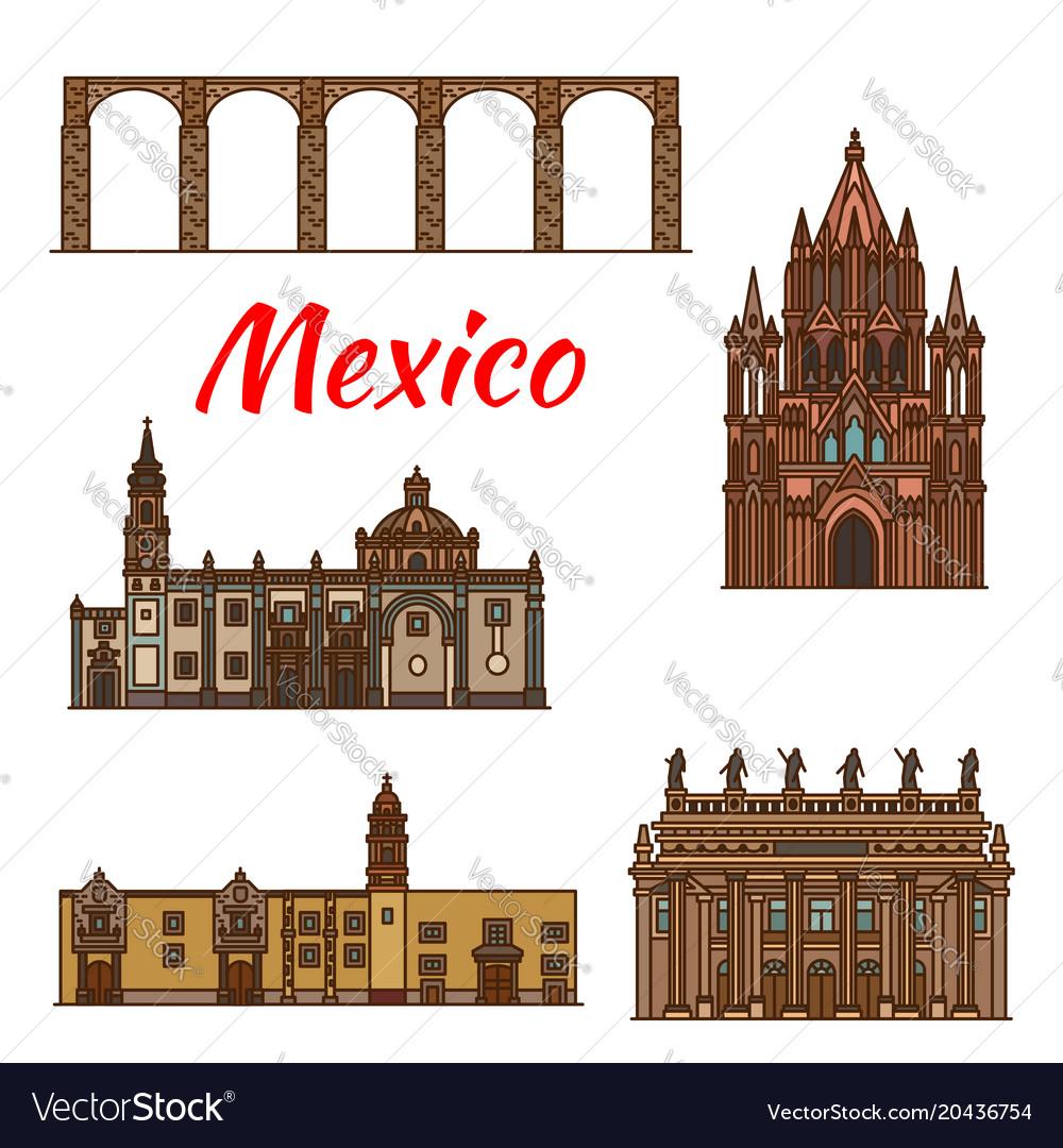 Mexico landmarks architecture line icons
